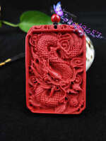 Chinese Natural Red Organic Cinnabar Dragon Necklace Pendant Lucky Amulet Hot