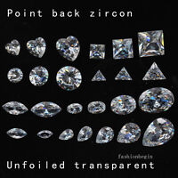 White True zircon cut Gems point back rhinestone Nail Art decoration varis shape