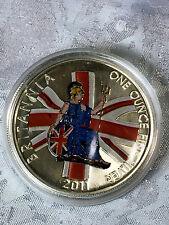 2011 1oz .999 £2 Silver Britannia Enameled Colored Coin **VERY RARE!**