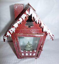 "Christmas Hanging Tin Latern House Tea Candle Holder 9"" Tall"