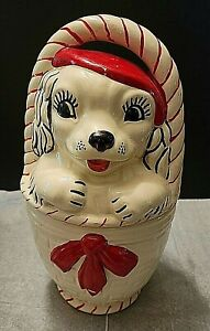 VINTAGE 1940'S DOG IN BASKET COOKIE JAR BY AMERICAN BISQUE POTTERY