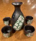 Miyabi Porcelain Japanese Sake Set Gray Green Yellow Flowers Design Handpainted