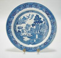 """WEDGWOOD ENGLAND WILLOW  CHINA BOWL(S) 8"""" RIMMED SOUP BOWLS BLUE AND WHITE CHINA"""