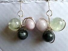 Kunzite, Lavakite & Prehnite Silver Plated Drop Earrings