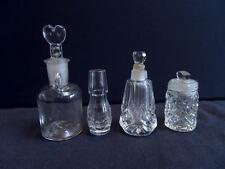 VINTAGE - Lovely x4 Small Cut Glass/Crystal Perfume BOTTLES (1 Stamped WT)