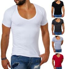 Young & Rich Herren T-Shirt extra tiefer V-Ausschnitt slimfit stretch uni 1315