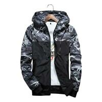 Men Casual Camouflage Hooded Jacket Autumn Clothes Men Windbreaker Coat Outwear