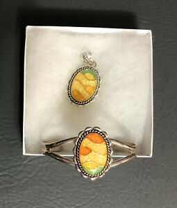 Carolyn Pollack Sterling Silver Bracelet and Matching Pendant Peach Yellow Green