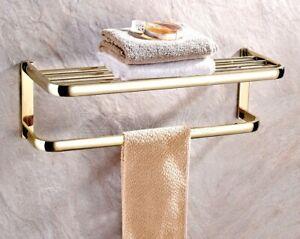 Gold Color Brass Wall Mounted Towel Holder Shelf Bathroom Storage Rack Rail