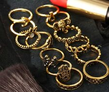13 PCS Knuckle Ring Set Gold Tone Different sizes Moon Crescent Hand Flower GLD