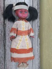 """VTG REGAL TOY INDIAN 15"""" GIRL DOLL CANADA LEATHER OUTFIT NATIVE AMERICAN"""