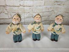 Set of Three Vintage Plastic Leprechaun Elf Doll Figurines Clovers Japan