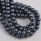 50pcs 8mm Pearl Round Glass Loose Spacer Beads Jewelry Making Pearl Black