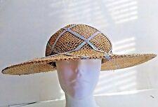 Columbia Seagrass Round Cap Straw Hat Diamond Shaped Stitched Fabric Wide Brim