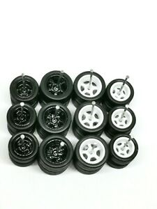 Hot Wheels 5 Spoke 12 mm+10 mm Rubber Tire - 6 sets ^ BLACK AND WHITE ^