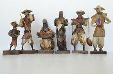 Vintage Mexican Folk Art Paper Mache 6 Handmade Figurines Villagers Farmers