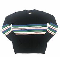Maison Jules Sweater Black Rainbow Novelty Striped Women Size Small NWT Cotton