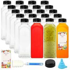 16oz / 20-Piece PET Plastic Juice Bottles Reusable/Disposable Clear Containers