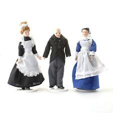 Porcelain Dolls Servants Maids & Butler Set of Three