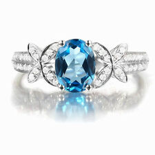 Solid 14K White Gold Natural Blue Swiss Topaz VS Diamond Engagement Wedding Ring