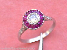 ESTATE ART DECO .50ct OLD DIAMOND SOLITAIRE RUBY HALO PLATINUM ENGAGEMENT RING