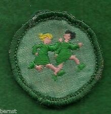 GIRL SCOUT BADGE -  WORLD GAMES - ERROR - BRUNETTE WINS! - CHEESECLOTH BACK