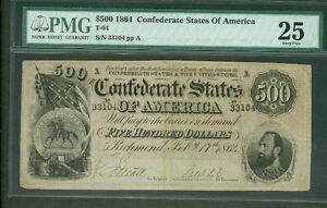 1864, T64, $500.00 CSA Note, PMG Grade 25VF