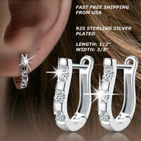 Women Fashion Jewelry 925 Sterling Silver Plated Very Small Stud Hoop Earrings