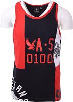 Akademiks Men's Three Tone Black, White & Red S/S Tank Top (Retail $34)