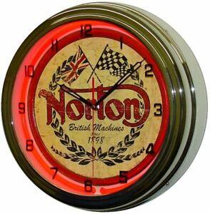 """16"""" NORTON Motorcycle Sign Neon Clock"""