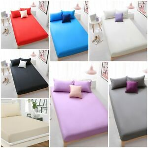 100% Brushed Cotton Thermal Flannel 30cm Deep Fitted sheet in single double king