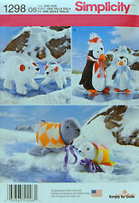 Simplicity 1298 Sewing PATTERN STUFFED ARCTIC ANIMALS Polar Bears Penguins Seals