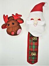 2 Christmas Holiday Door Knob Covers Plush Reindeer Santa