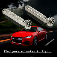 White 2 Pairs Automatic Wind Power 8 LED Car Light