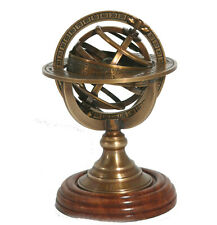 Armillary sphere, Reproduction, brass & wood, astronomy, nautical, 13cm
