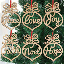 12*Wooden Ornament Hollow Letter Tree Hanging Tags Christmas Decorations DIY zvx
