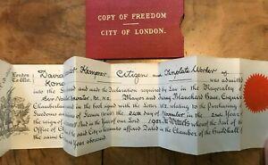 Copy of Freedom City of London Vellum Declaration 1953 David Kempner