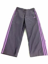 ADIDAS WOMENS PURPLE POLYESTER ATHLETIC PANTS CAPRIS SIZE S