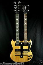 NEW NATURAL DOUBLE NECK 12 & 6 STRING ELECTRIC GUITAR AND CASE