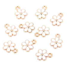 10Pc Gold Tone Enamel White Flower Charms Pendant Oil Drop DIY Earrings Necklace