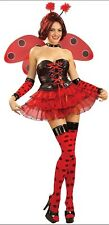 ADULT HALLOWEEN COSTUME SIZE SMALL LUSCIOUS LADY BUG WINGS ANTENNAE SKIRT NYLONS