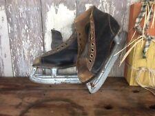 Vintage Shabby Ice Skates, Brown & Black , Decorative