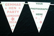 HEN PARTY PAPER BUNTING - HAND CRAFTED - PERSONALISED WITH PHOTO