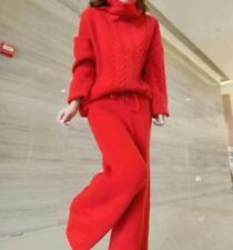 Women Warm Cashmere Twist Knit Turtleneck Sweater Wide-leg Long Pants 2Pcs Suits