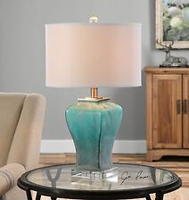 Elegant Frosted Blue Green Glass Table Lamp Crystal Base Brushed Aluminum Metal