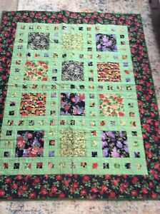 """Large Floral Quilt Blanket / Throw Hand Made Machine Quilted 52"""" X 65"""""""