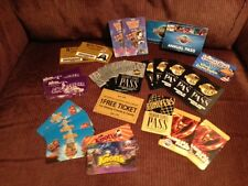 AMUSEMENT PARK GIANT COLLECTION OF ANNUAL PASSES AND TICKETS! PLUS LANYARD!