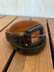 """RALPH LAUREN Women's Brown American Alligator Belt Made in Italy 26"""" 65"""