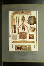 100+ year old antique vintage color print ancient objects Tombs of Ancona Peru