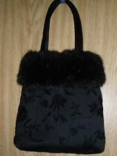 """HUG ME"" BLACK FURRY PURSE WITH INSIDE MAGNETIC CLASP"